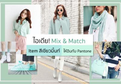 ไอเดีย! Mix & Match Item  สีเขียวมิ้นท์ให้อินกับ Pantone